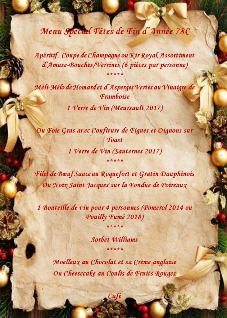 repas de fête de fin d'année - Menu 78 € tout compris - Soirée d'entreprise restaurant groupe Paris
